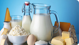 milk jug with cheese and eggs - structured water unit for dairy farm